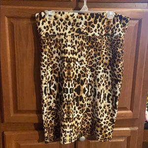 Lularoe Cassie Leopard Animal Print Skirt Large